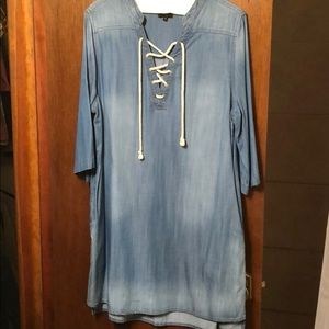 Denim Lace-Up Dress